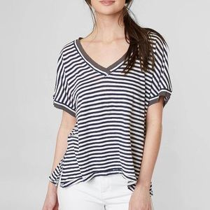 Free People Take Me Stripe Relaxed Tee Size Small